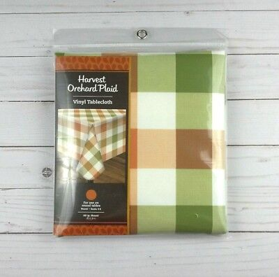 60 Inch Round Tablecloth (Vinyl Tablecloth Fall Plaid Thanksgiving 60 Inch)