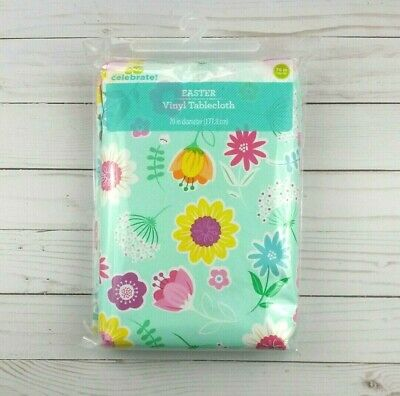 Camping Tablecloth (Vinyl Tablecloth 70 Round Easter Spring Flowers Picnic Camping)