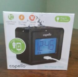 Compact Digital Alarm Clock with USB Charger Black - Capello
