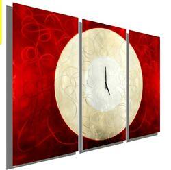 Large Red Metal Wall Sculpture Art Clock Modern Art Red Painting Decor Jon Allen