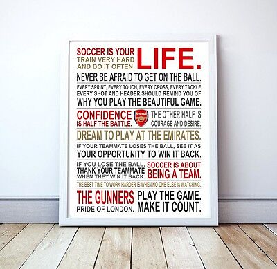 Arsenal Fc  Soccer Is Your Life  Manifesto Poster  17  X 22