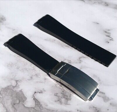 20mm Black Rubber Strap For Rolex Sports Watch