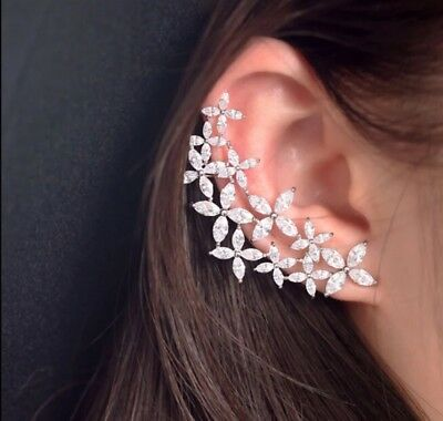 14k White Gold Bling Cuff Earring made w Swarovski Marquise Stone Trendy Jewelry