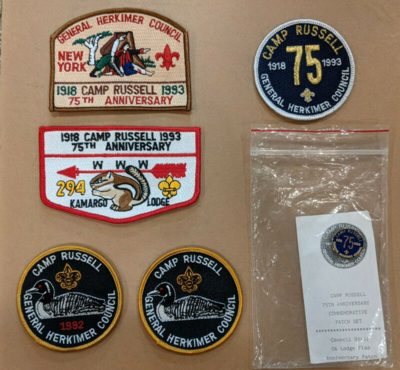 Camp Russell (NY) 75th Anniversary Set 1993 - CSP / OA / Camp (x3) + Pin