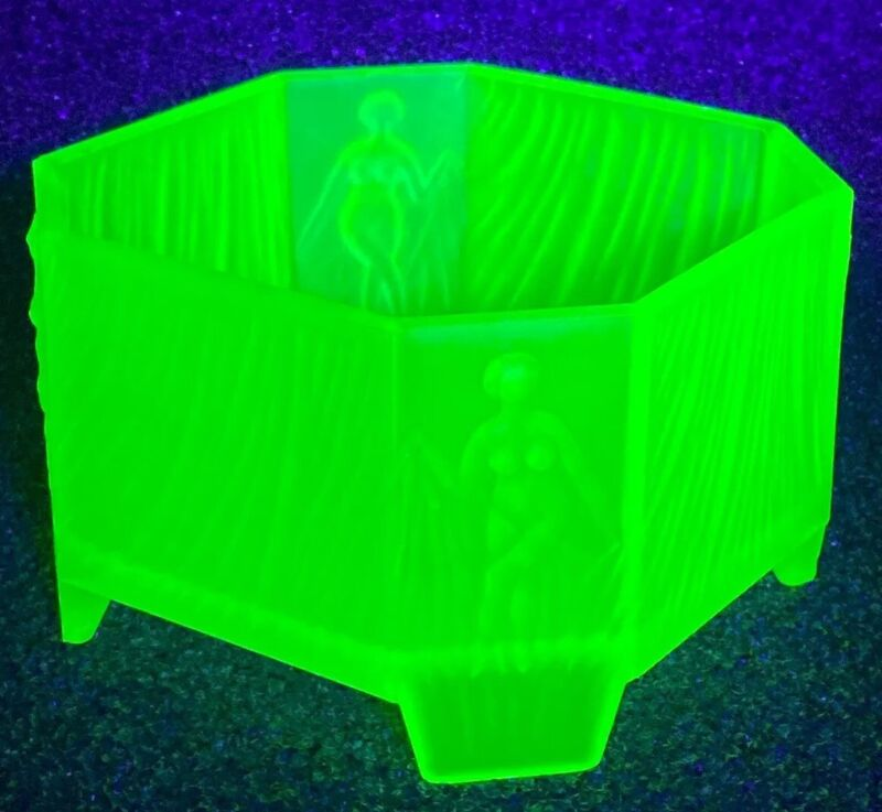 Green Uranium SATIN GLASS POWDER JAR Draped NUDES Art Deco Octagon 4 Feet No Top