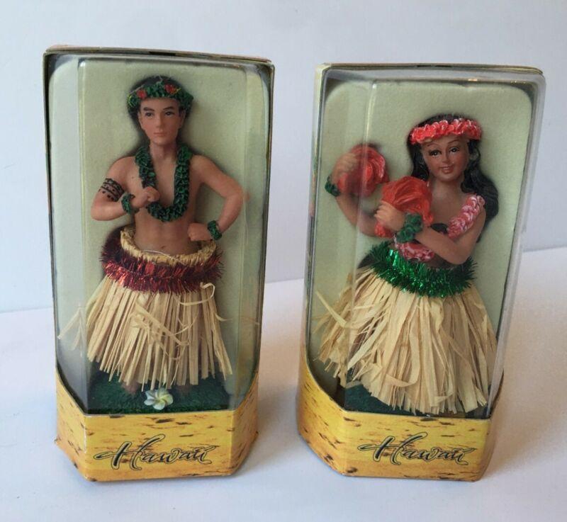 New - man woman Chiefly Co Hawaiin dashboard hula doll lot 2 boy girl unopened