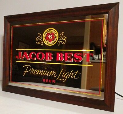 Jacob Best Premium Light Beer Lighted Mirror Wall Bar Sign Red/Gold Pabst Works! for sale  Fond du Lac