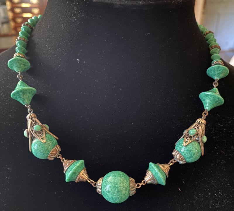 Vintage Art Deco Peking Glass & Ornate Brass Neiger? Necklace