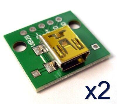 2x Module PCB Mini USB femelle / High quality female connector module PCB board