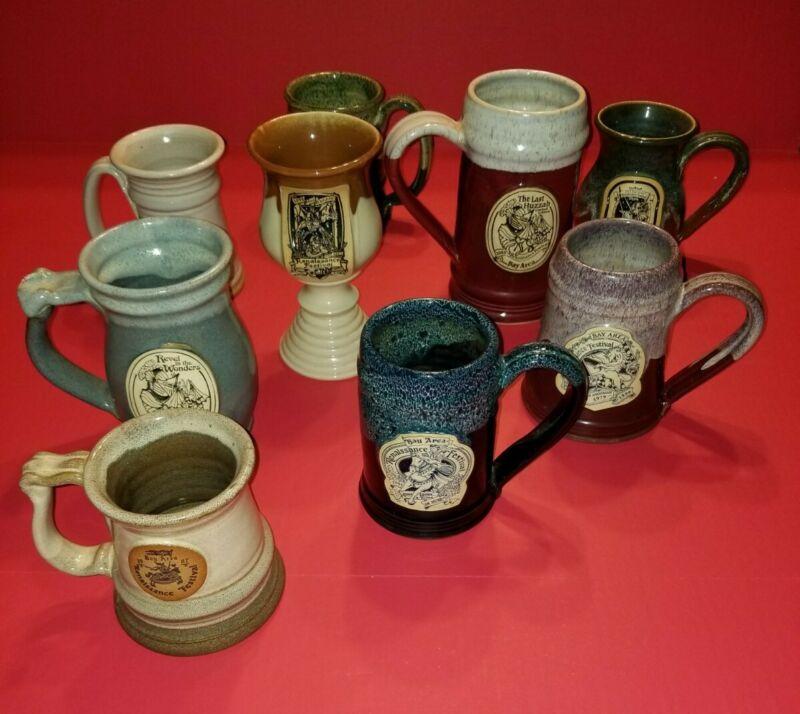 Lot of 9 Vintage Tampa Bay Area Renaissance Festival Mugs Goblets Chalices