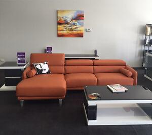 Orange 3.5 Seater Brazilian Leather Sofa Lounge w. Chaise Bundall Gold Coast City Preview