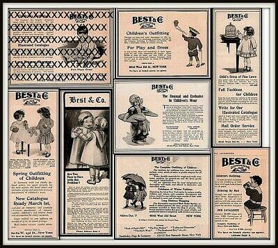 7 Early 1900 's Best Co Children's Clothes Kite Flyer Blocks Bird Doll Ads