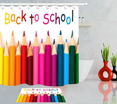 Colorful Pencil Crayon Fabric Shower Curtain Liner Back to School Bath Accessory (Shower Crayons)