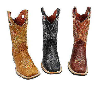 Men Genuine Cowhide Leather Shoulder Print Cowboy Boots Square Toe Style Db 350