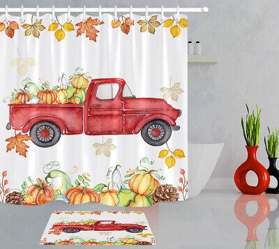 Fall Bathroom Decor (Watercolor Red Truck Fall Harvest Pumpkin Shower Curtain Set Bathroom Decor)
