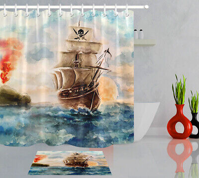 Waterproof Fabric Shower Curtain Set Oil Painting Style High Seas Pirate Ship - Pirate Shower Curtain