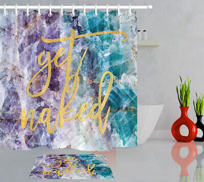 Purple And Turquoise Decorations (Purple and Turquoise Quartz Stone Shower Curtain Set Golden Letters Bath)