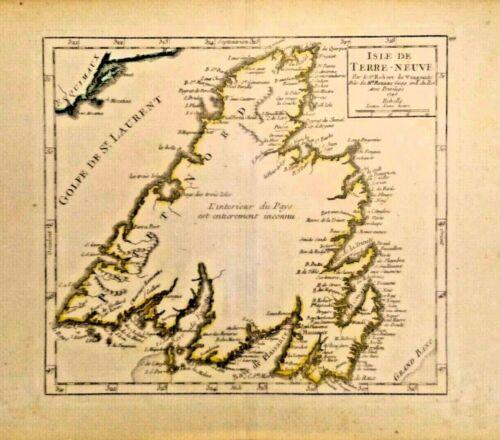 Genuine Antique Map of the Isle de Terre-Neuve 1749.NEWFOUNDLAND, CANADA NICE
