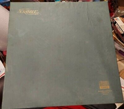 Vtg 1977 Deluxe Edition SCRABBLE Crossword Game Turntable Blue Box Complete