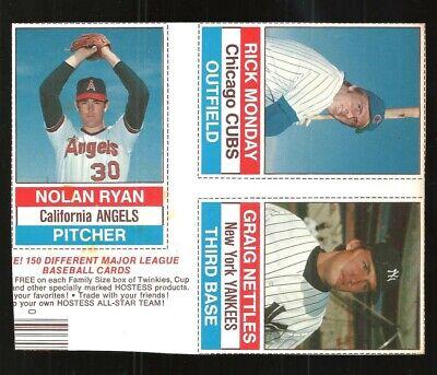 Nolan Ryan & Rick Monday & Graig Nettles 1976 Hostess 3-Player Baseball Panel