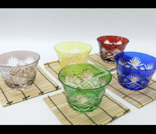 Japanese colorful KIRIKO grass 5 sets and coaster unused items from japan