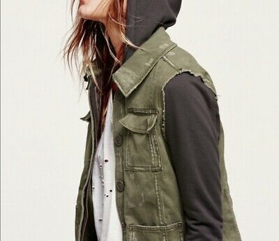 Free People Knit Hooded Twill Military Jacket XS