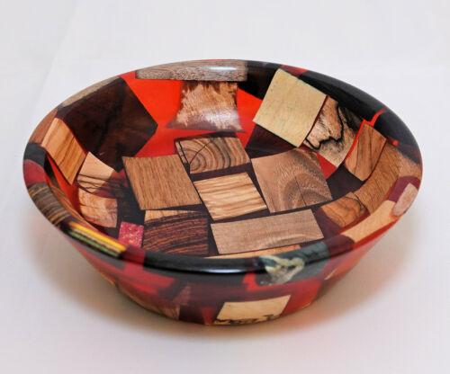 Handmade Wood Bowl / Dish -Wood and Red Resin