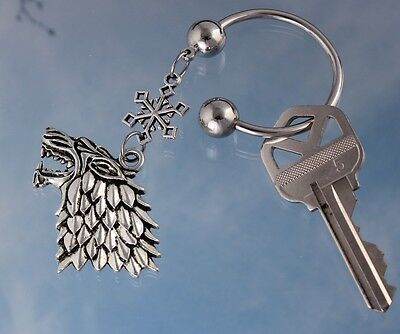 Direwolf and Snowflake Key Ring- Game of Thrones Inspired Key Chain- House Stark