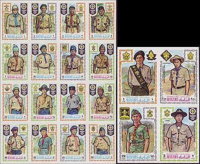 Manama 1971 Scout Pfadfinder, Mi.465-484B (2 Zusammendrucke) MNH