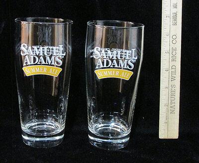 Bulk Pint Glasses (2 Samuel Sam Adams Summer Ale Beer Glass Clear 16oz Pint Lemon Zest)