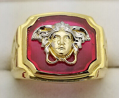 10K Yellow Gold Men's Versace Ring Medusa Face Ring