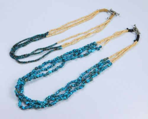 Vintage Turquoise & Polished Oyster Shell Multi Strand Heishi Necklace Lot of 2