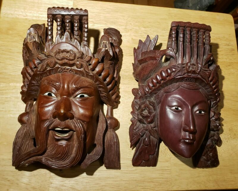 Chinese Tibetan Emperor And Empress Carved Masks 19C Qing Dynasty