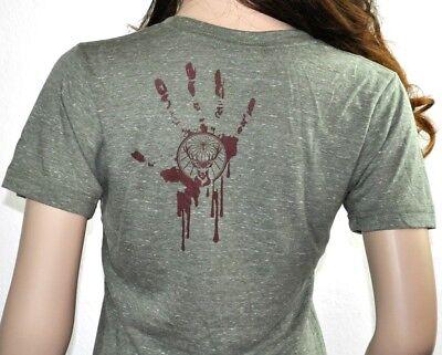 Jägermeister USA Damen T-shirt Größe M Halloween Zombie Motiv grün meliert