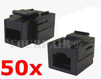 Cat5e Insert (50 Pack - CAT5e Inline Coupler Keystone RJ45 Female Snap-In Jack Insert - Black )