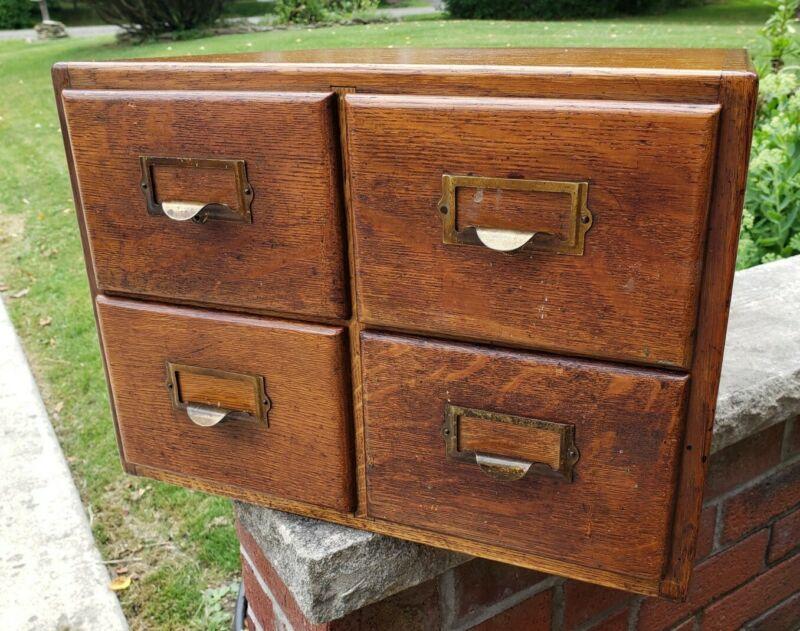 Beautiful Antique Triangular Dovetailed Oak 4 Drawer Card Catalog File Cabinet