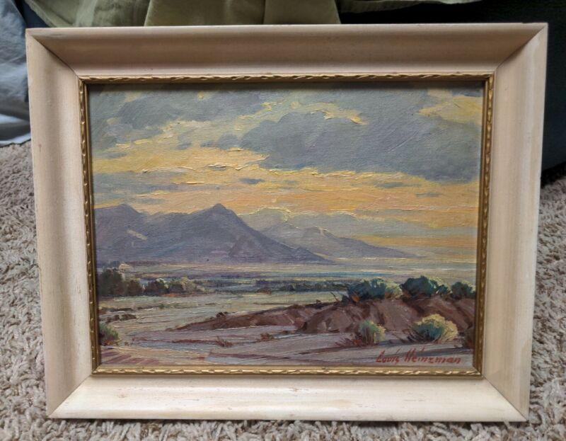 Beautiful Louis Heinzman Listed Utah and California Artist Oil on Board