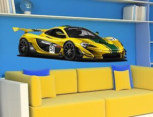 wall stickers cars mclaren sport racing car mural wall sticker interior design ebay. Black Bedroom Furniture Sets. Home Design Ideas
