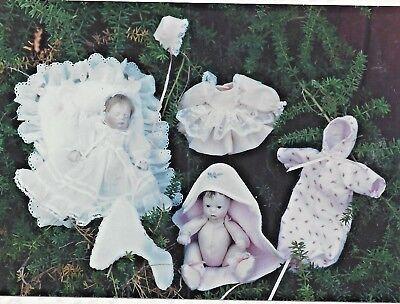 "7""VINTAGE BABY DOLL CLOTH BODY CHRISTENING DRESS BONNET/LAYETTE/PILLOW PATTERN"