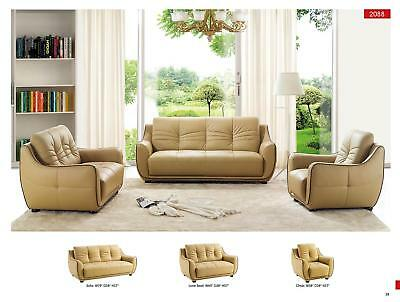Esf 2088  Contemporary Beige Italian Leather Sofa Living Room Set 3Pcs