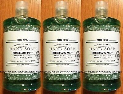 Hand Soap Rosemary Mint (3x Bella Cucina HAND SOAP Rosemary Mint With Essential Oils 16.6 Fl Oz Each NEW )