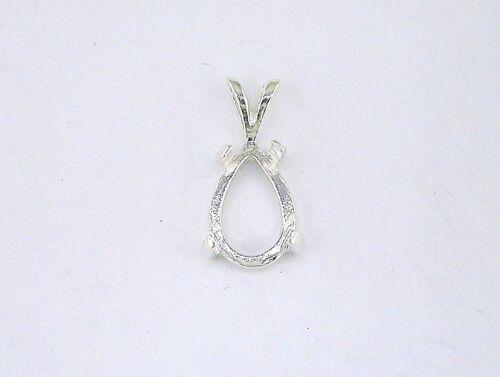 Pear Shape 4 Prong Cabochon Pendant Setting Sterling Silver
