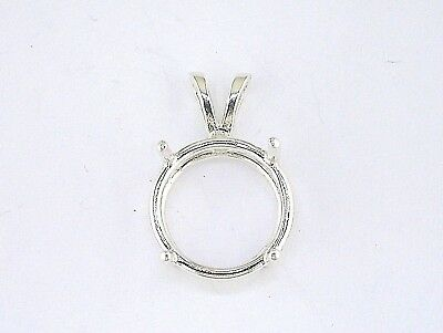 Round 4 Prong Wire Mount Pendant Setting Sterling Silver