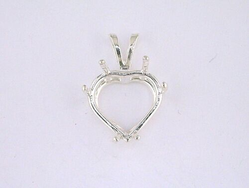Heart 6 Prong Wire Mount Pendant Setting Sterling Silver