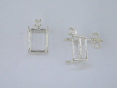 Emerald Cut Earring Setting (Emerald Cut 4 Prong with Accent Earring Setting Sterling)