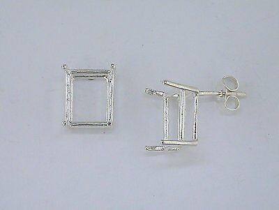 Emerald Cut Earring Setting (Emerald Cut 4 Prong Earring Setting Sterling)