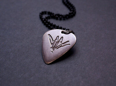 Handmade Etched Black Chrome Chris Cornell Guitar Pick Necklace - Donation Sale