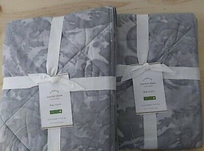 Pottery Barn Set: 2 Scarlett King Size Shams, Quilted Cotton, Color Gray