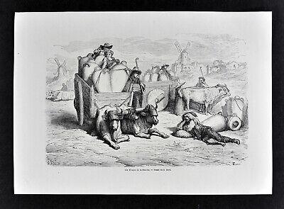 1868 Tour du Monde G. Dore Print Tinajas de La Mancha Spain Oxcarts Amphora Pots