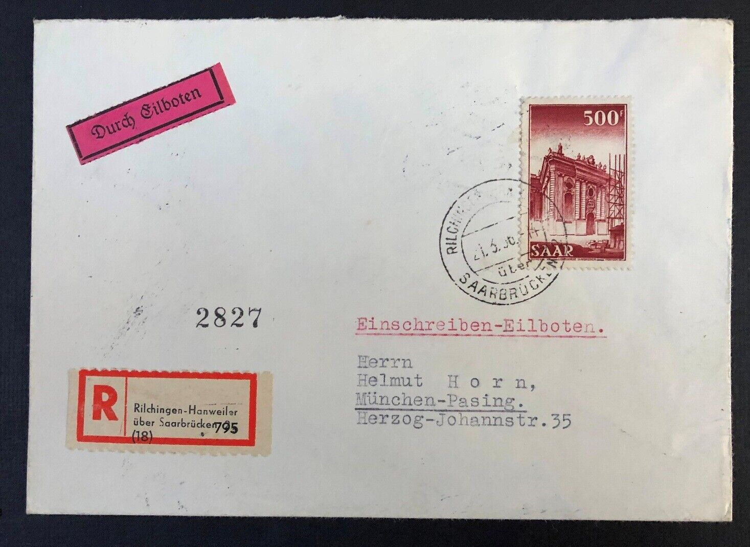 Saar 245 On 1956 Registered Cover - $16.56